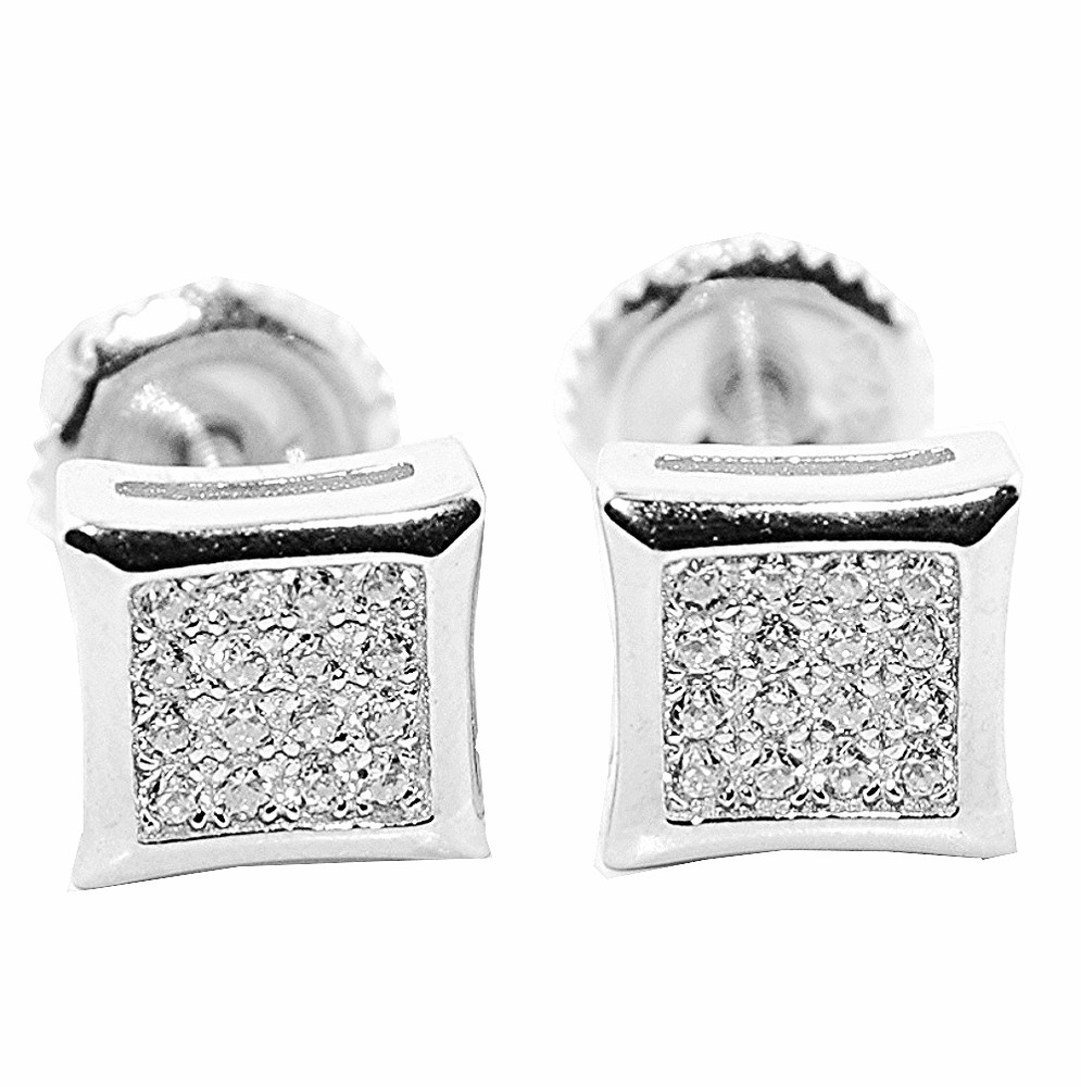 .925 Simulated Diamond 7MM Stud Sterling Silver Kite Earrings