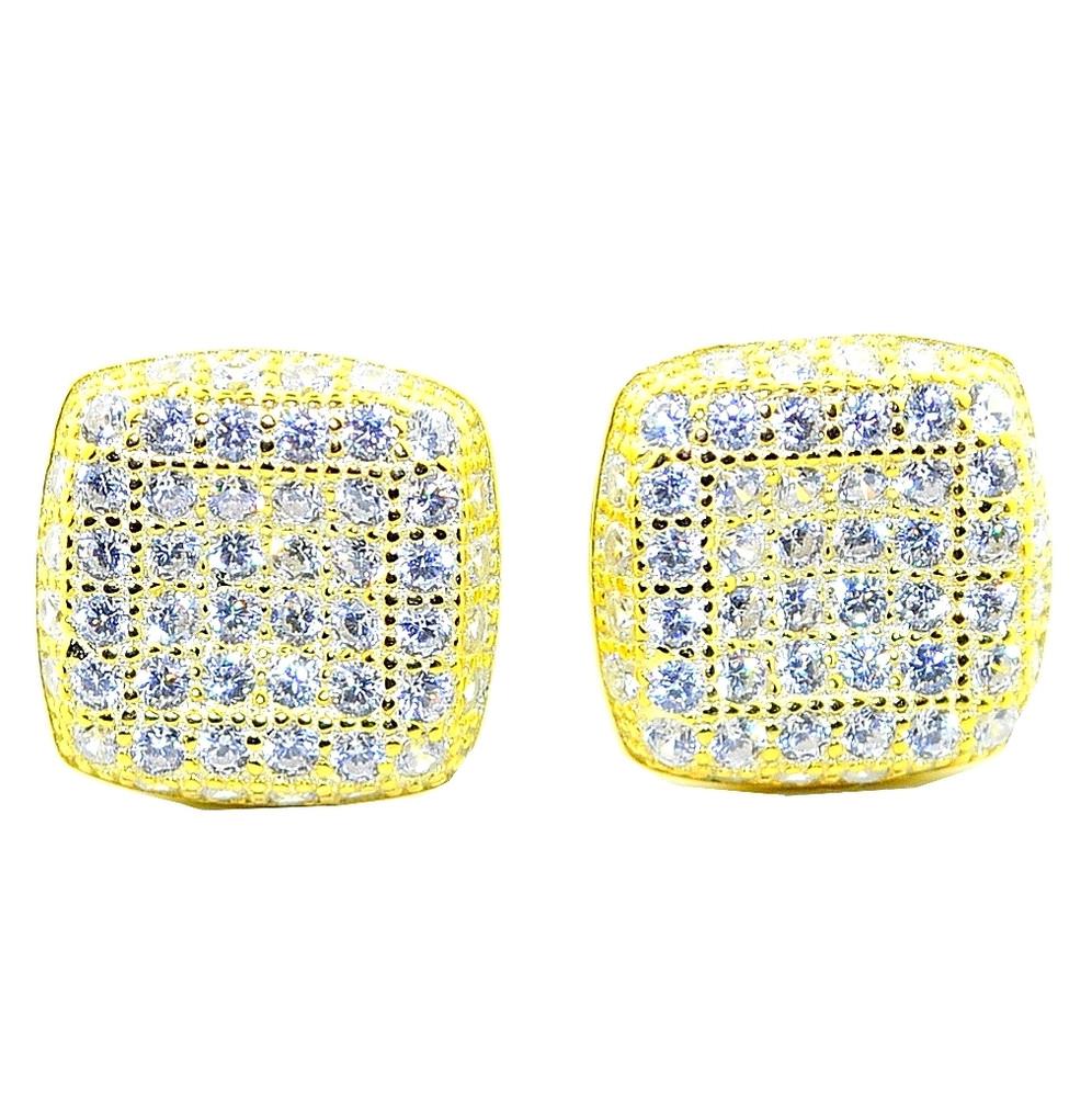 10MM Wide CZ Bling Bling Stud Earrings Sterling Silver Gold