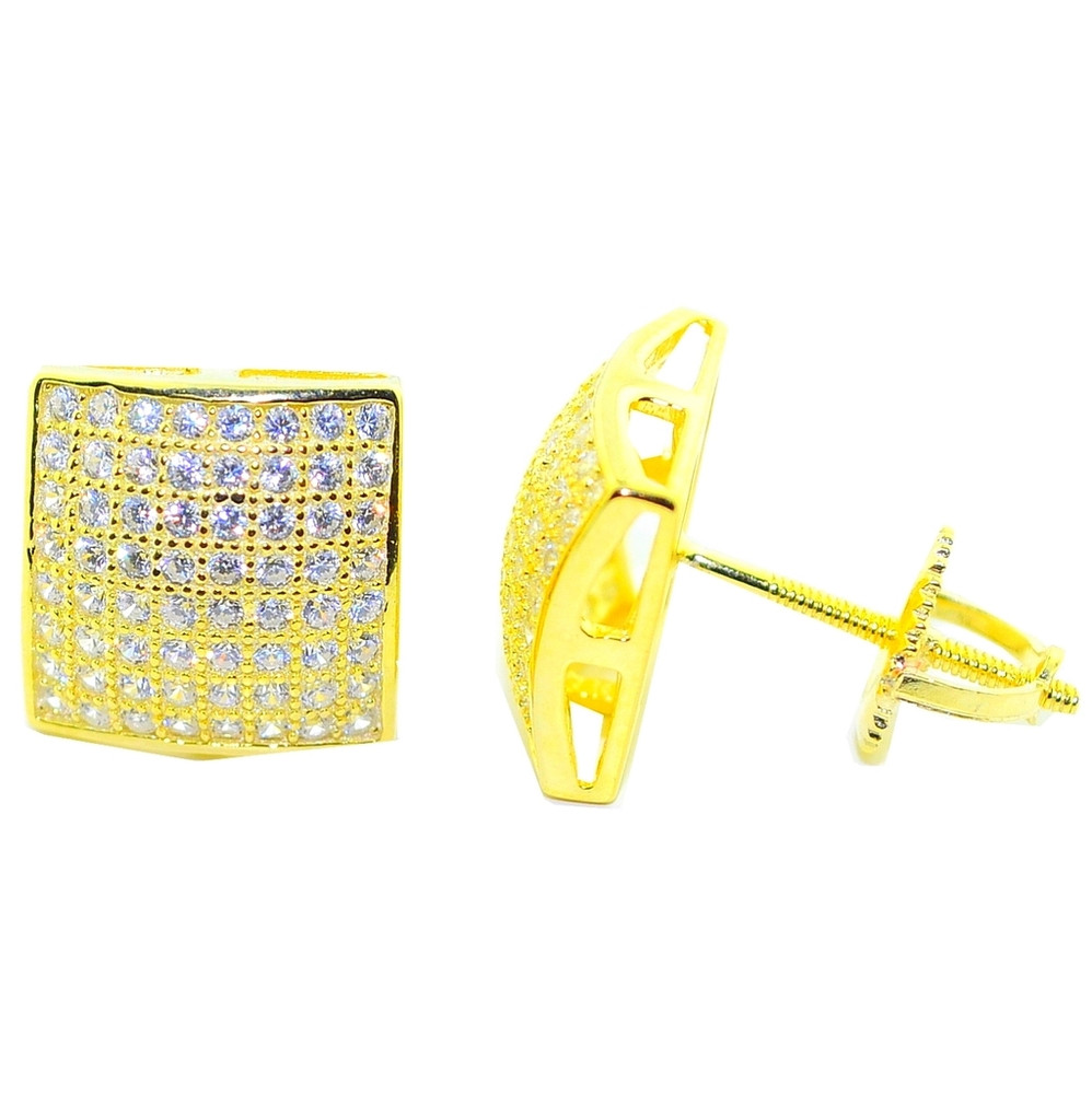 10.5MM Wide CZ Iced Out Stud Silver Gold Square Earrings