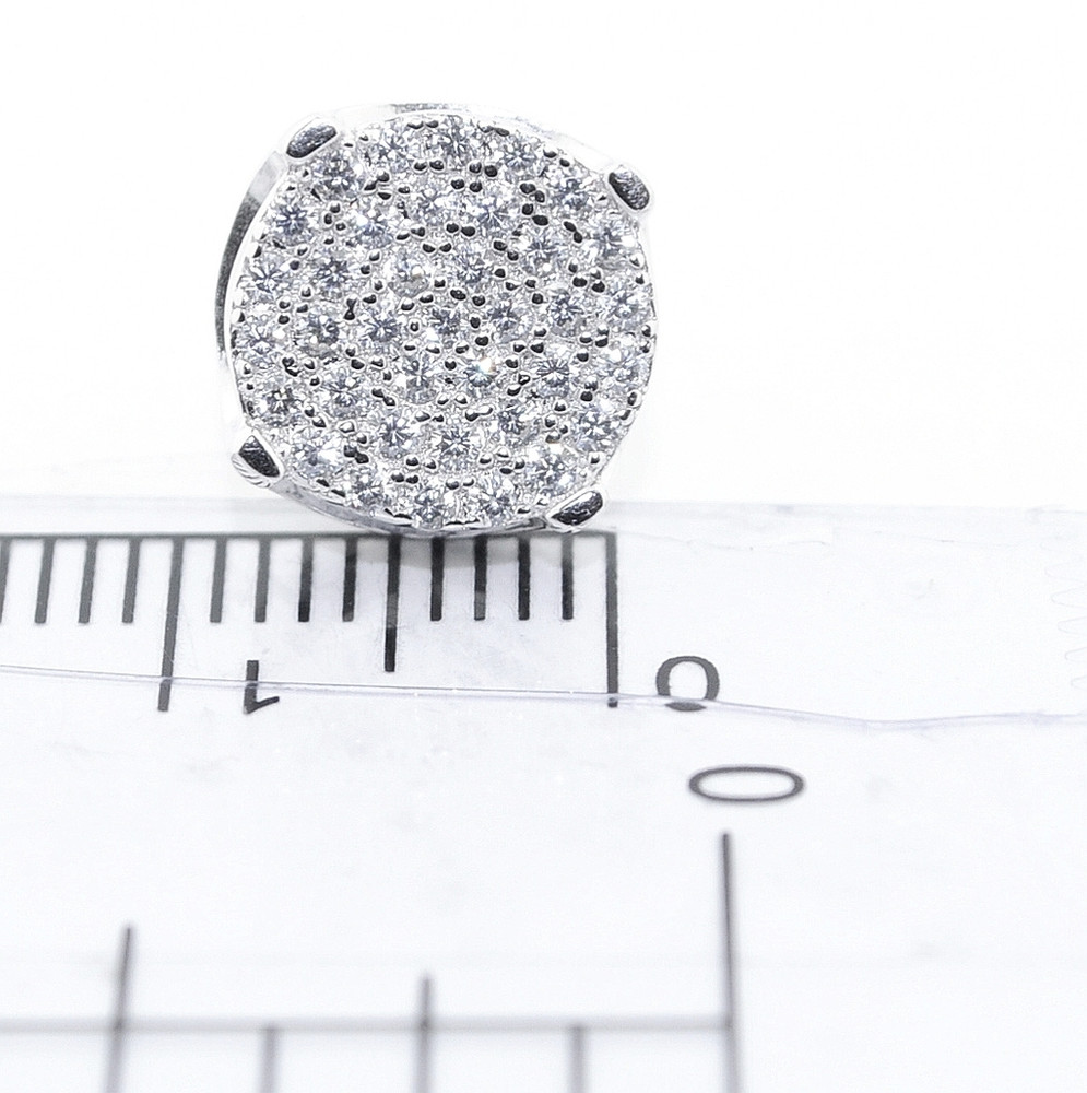10MM Simulated Diamond Hip Hop Earrings Silver Round Pave