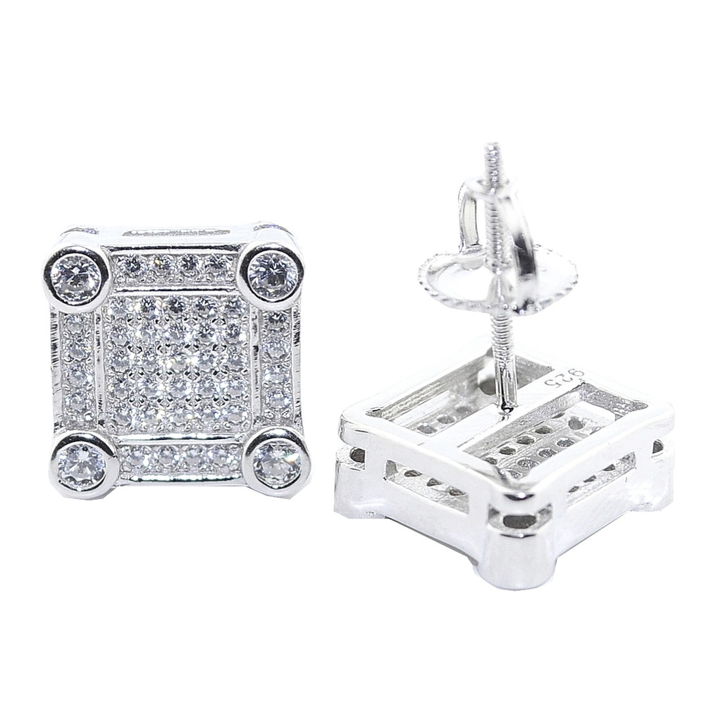10.5MM Wide Diamond Simulate Bling Earrings Silver Large Square