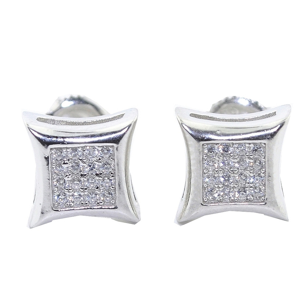 Mens Bling 9MM Wide CZ Stud Earrings Silver Kite Shaped
