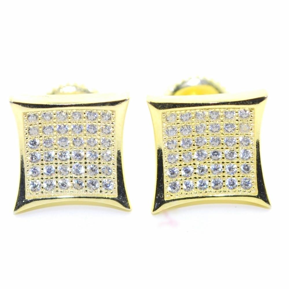 10MM Wide Cz Stud Earrings Kite Shaped 14 Gold Bling Earrings