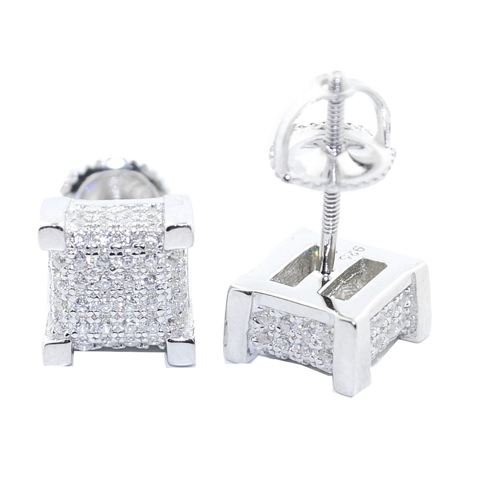 8MM Simulated Diamond .925 Sterling Silver Cube Earrings