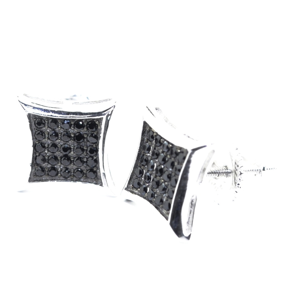Black Micro Pave Hip Hop Earrings