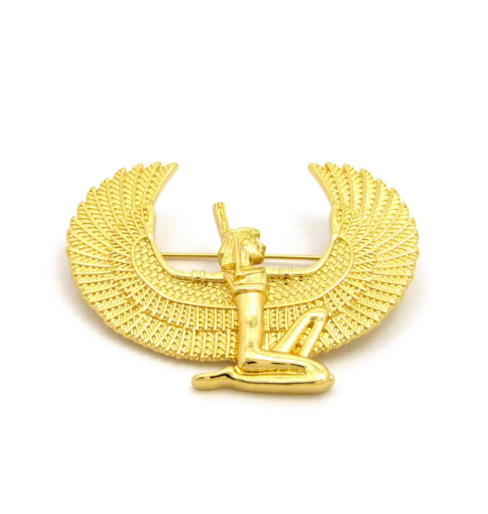 MAAT 14k Gold Ancient Egyptian African Brooch Pin