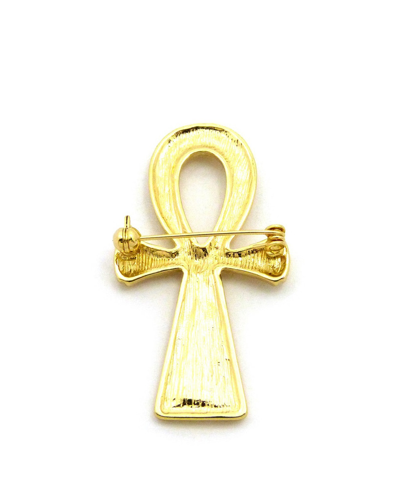 Hieroglyphs Ankh Cross 14k Gold Egyptian African Brooch Pin