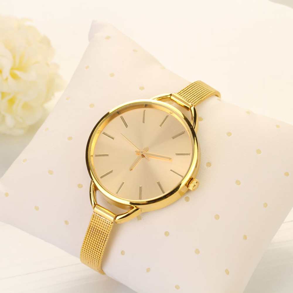 Boss Ladies Sleek Sexy Classic Casual 14k Gold Executive Watch