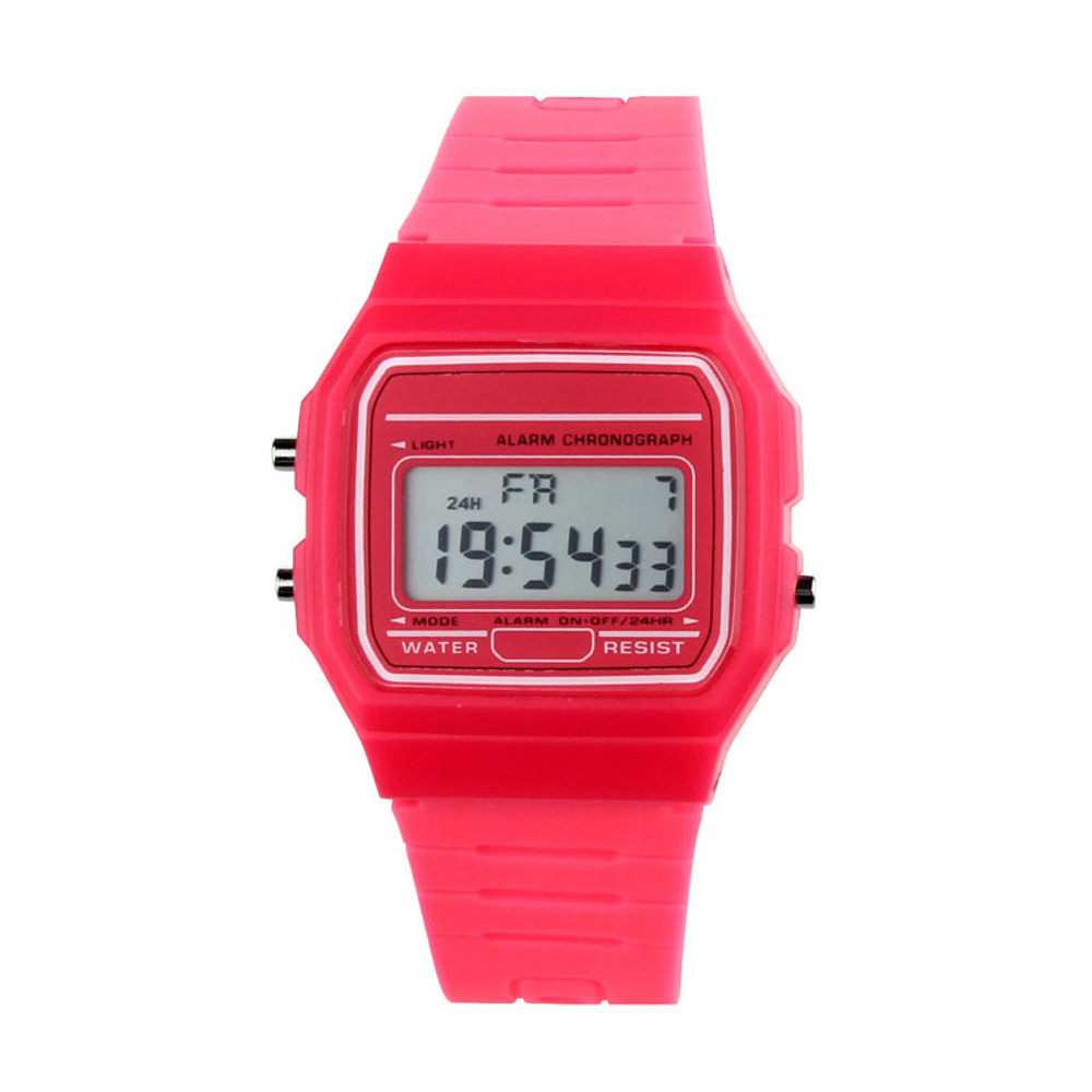 80's Retro Fashion Vintage Digital Wristwatch Red