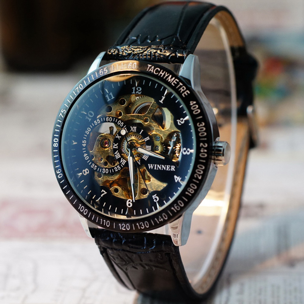 Hollow Skeleton Automatic Mechanical Leather SS Watch