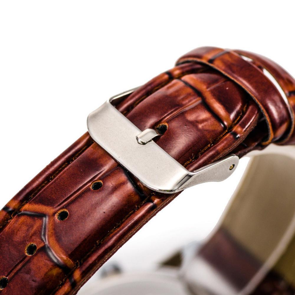 Luxury Stylish Crocodile Leather Mens Quartz Bling Watch