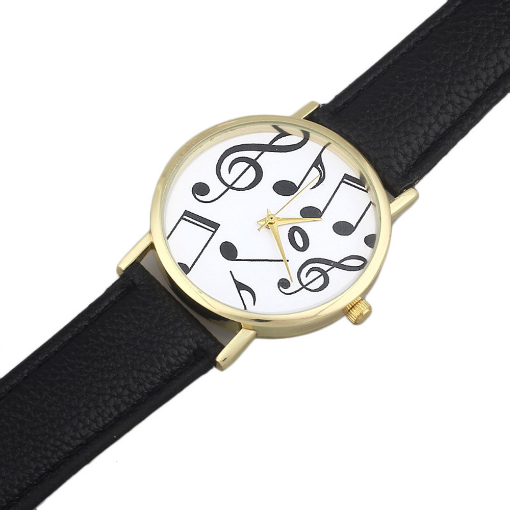 Classical Musical Notes Leather Band Wrist Watch