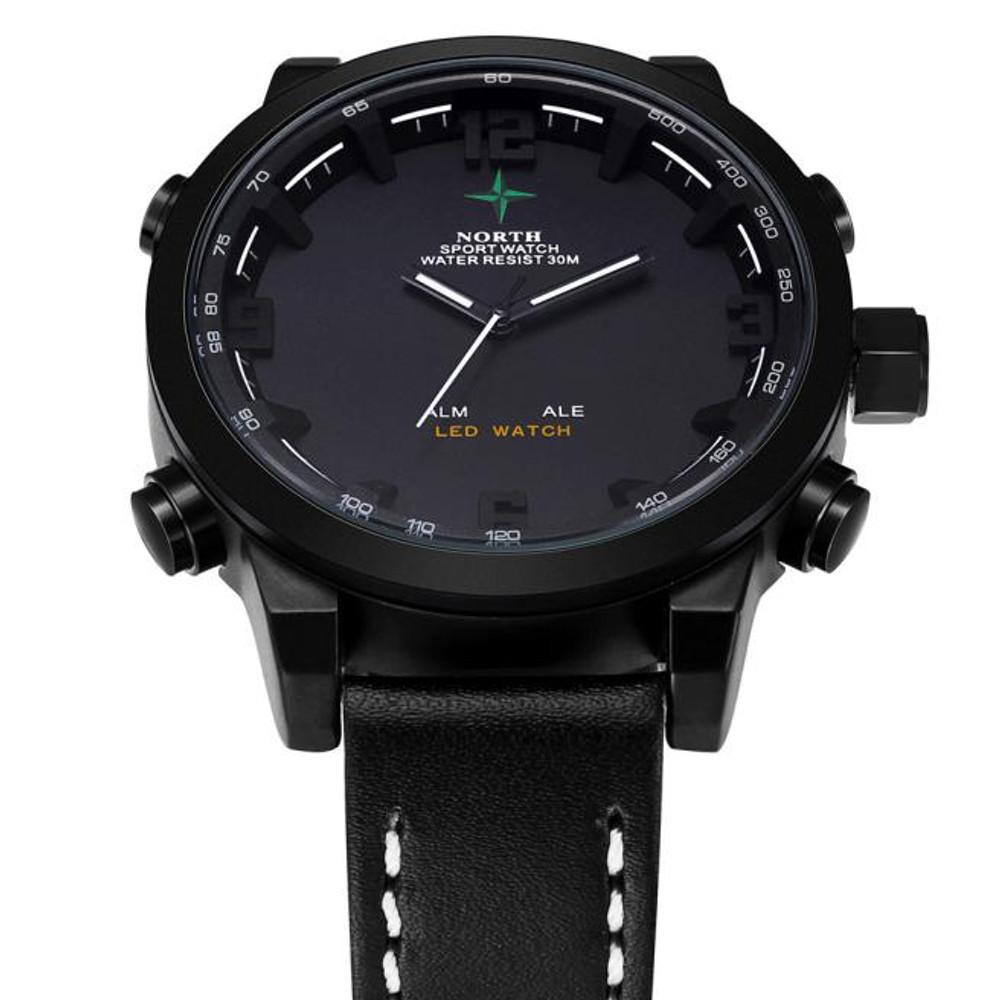 Mens Black Face Leather Casual Hip Hop Wrist Watch Black