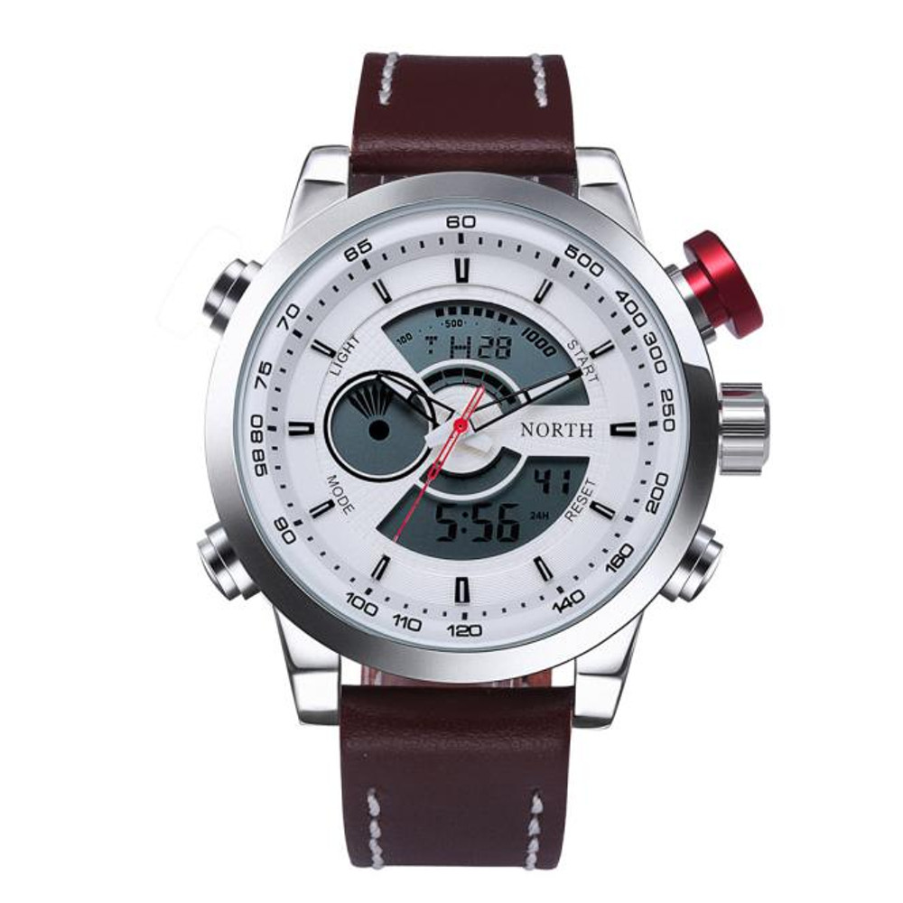 Double Movement Time Zone Leather Digital Hip Hop Watch