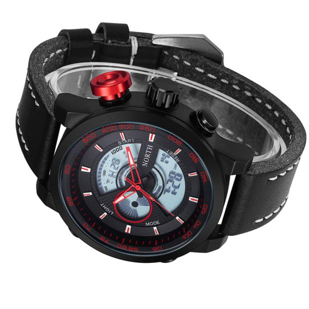 Double Movement Time Zone Leather Digital Hip Hop Watch Red