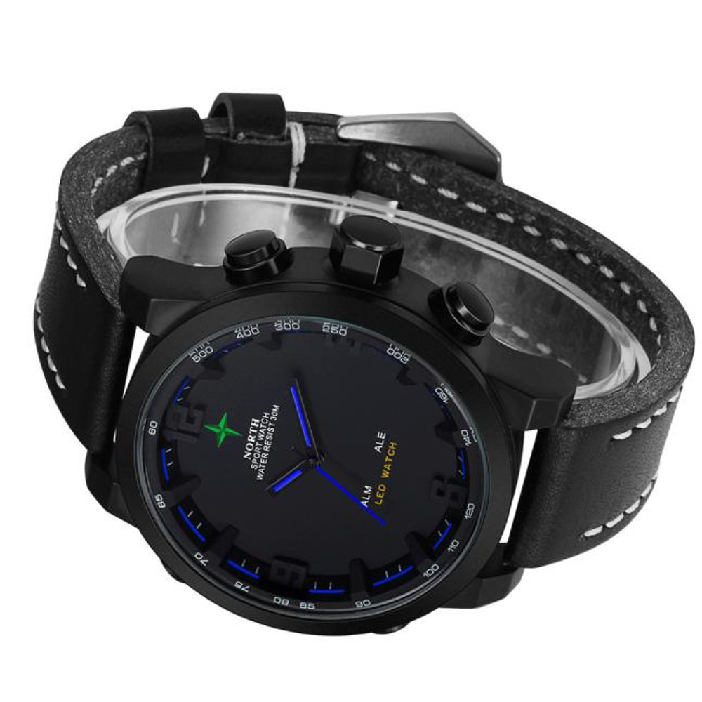 Mens Black Face Leather Casual Hip Hop Wrist Watch Blue