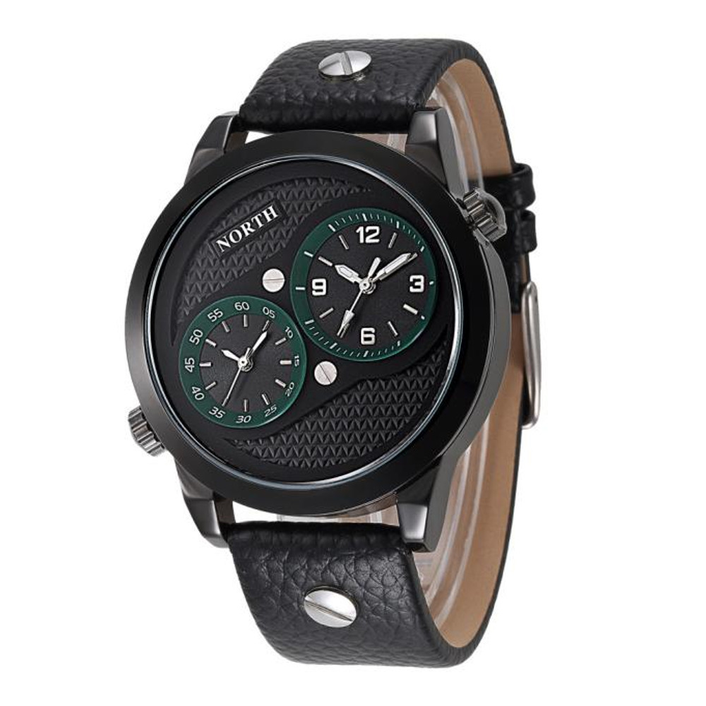 Double Movement Black Leather Wrist Watch