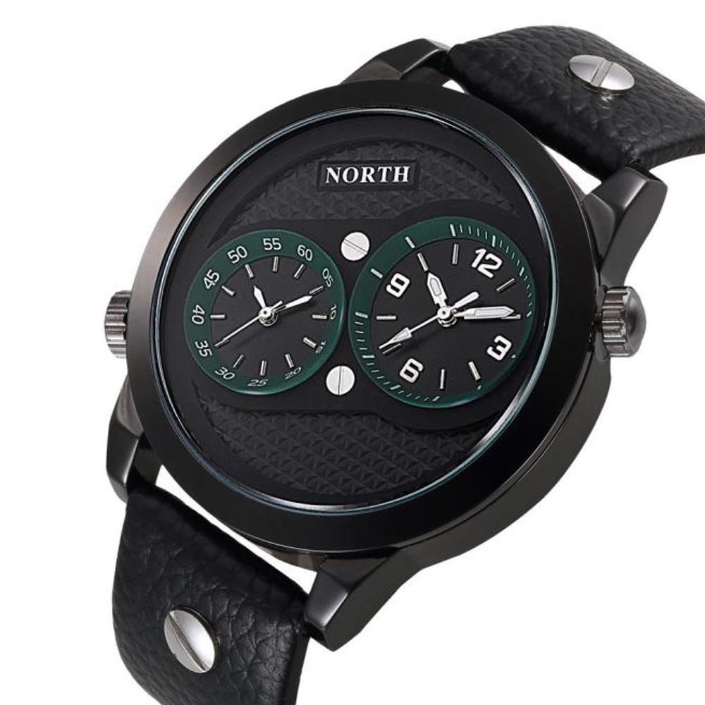Mens Hip Hop Double Movement Black Leather Wrist Watch