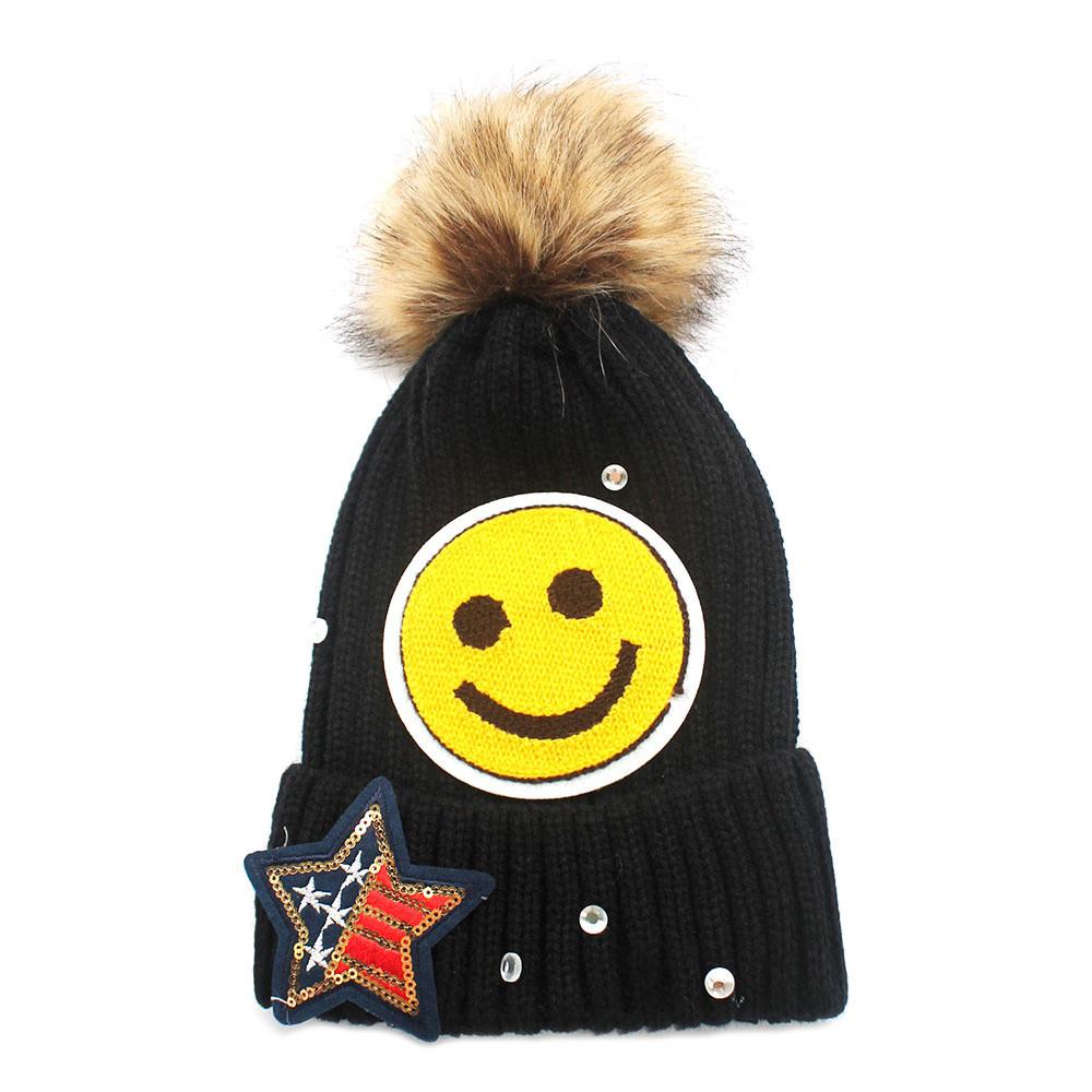 Super Star  5 Perfume Bottle Knitted Beanie Hat Black 6a1e3e68c20e