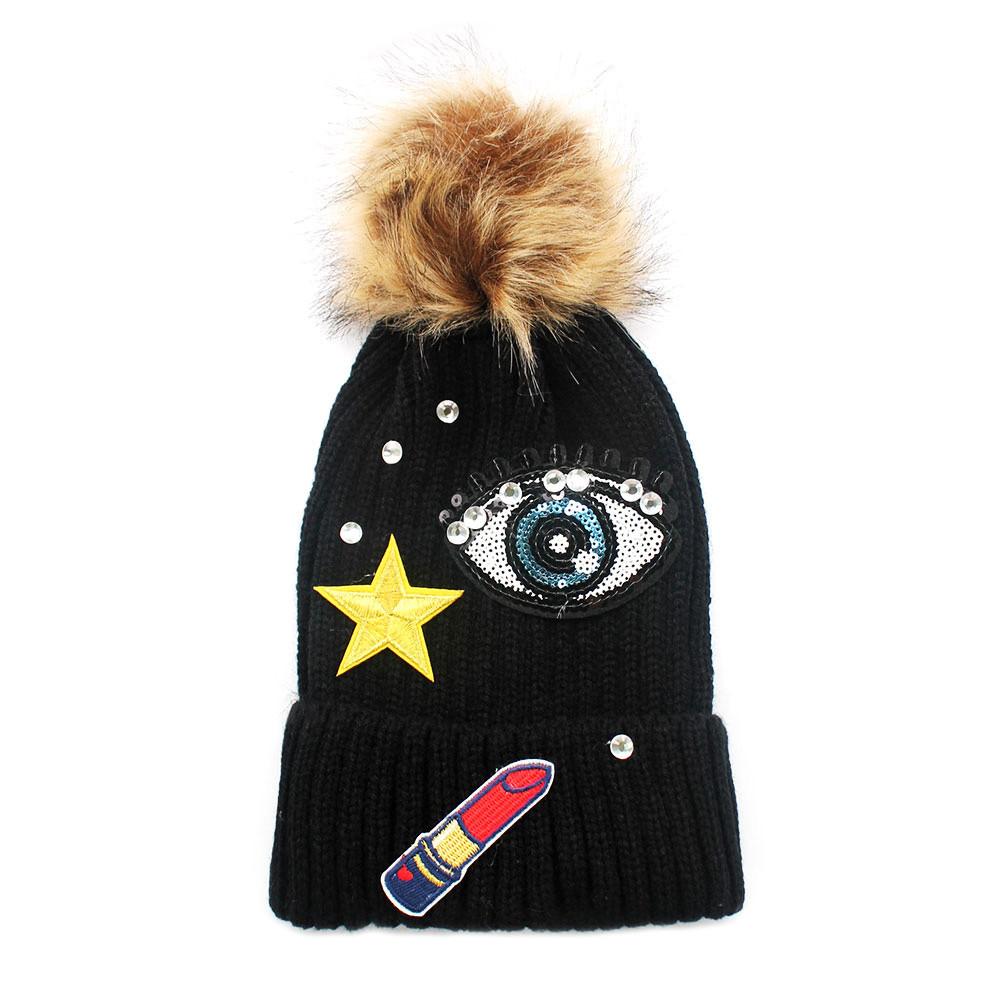 Lipstick Star all Seeing Eye Beanie Hat Black