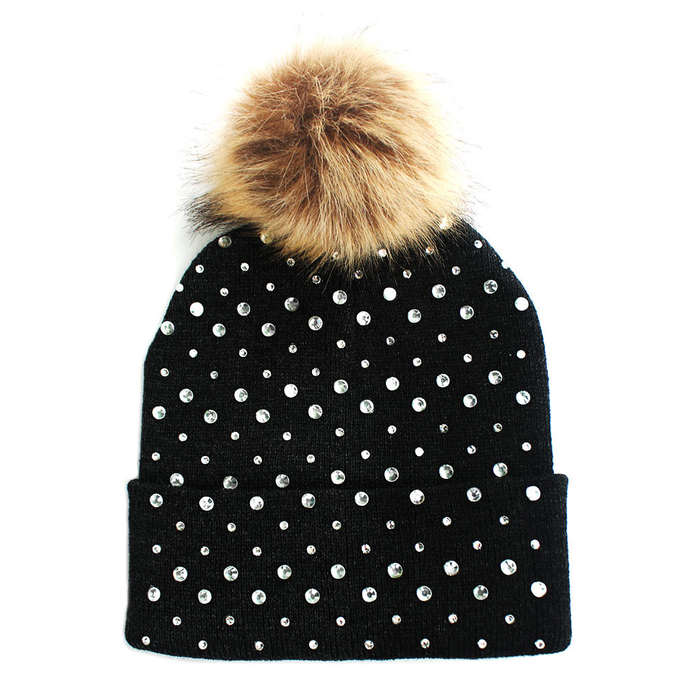 Rhinestone Fashion Stylish Pom Pom Ball Beanie Hat Brown 9c5e37f67491