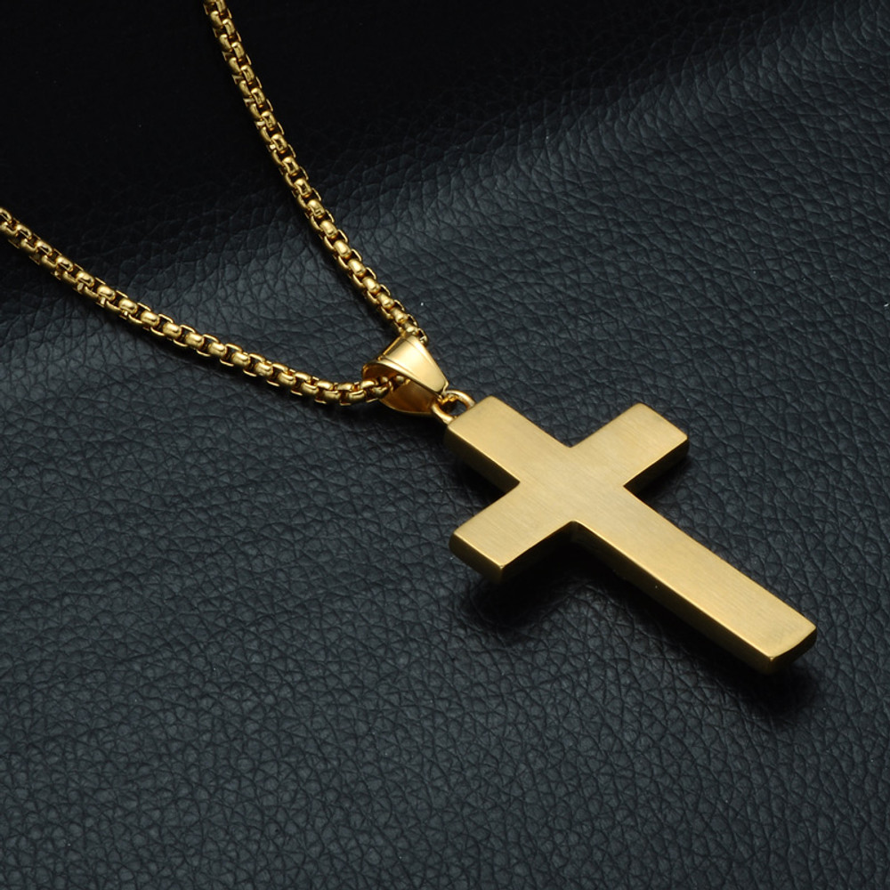 14k Gold Iced Out 3D Jesus Block Titanium Stainless Steel Cross Pendant
