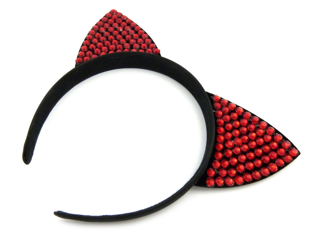 Ladies Rhinestone Sexy Pussy Cat Ears Headband Red