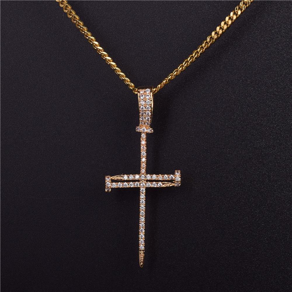 Jesus Iced Out Lab Diamond Nail Cross Pendant Chain 14k Gold Silver