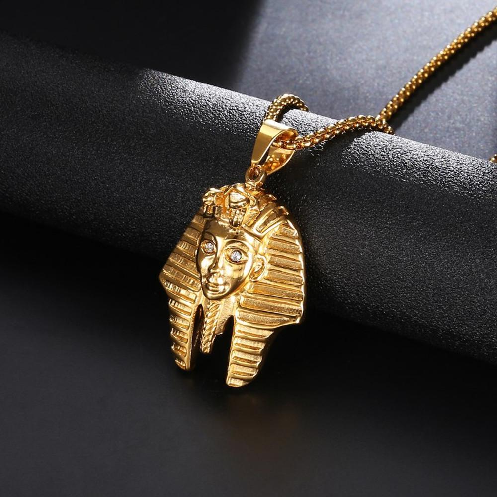 14k Gold Stainless Steel Lab Diamond King Tut Egyptian Chain Pendant