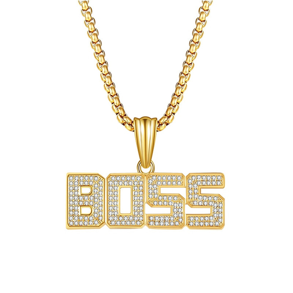 14k Gold Iced Out Micro Pave Lab Diamond BOSS Pendant Chain Necklace