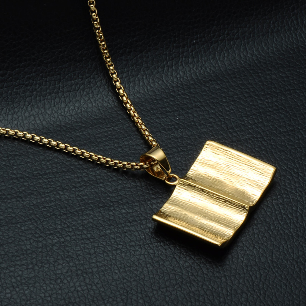 14k Gold Open Holy Bible Simulated Diamond Chain Pendant