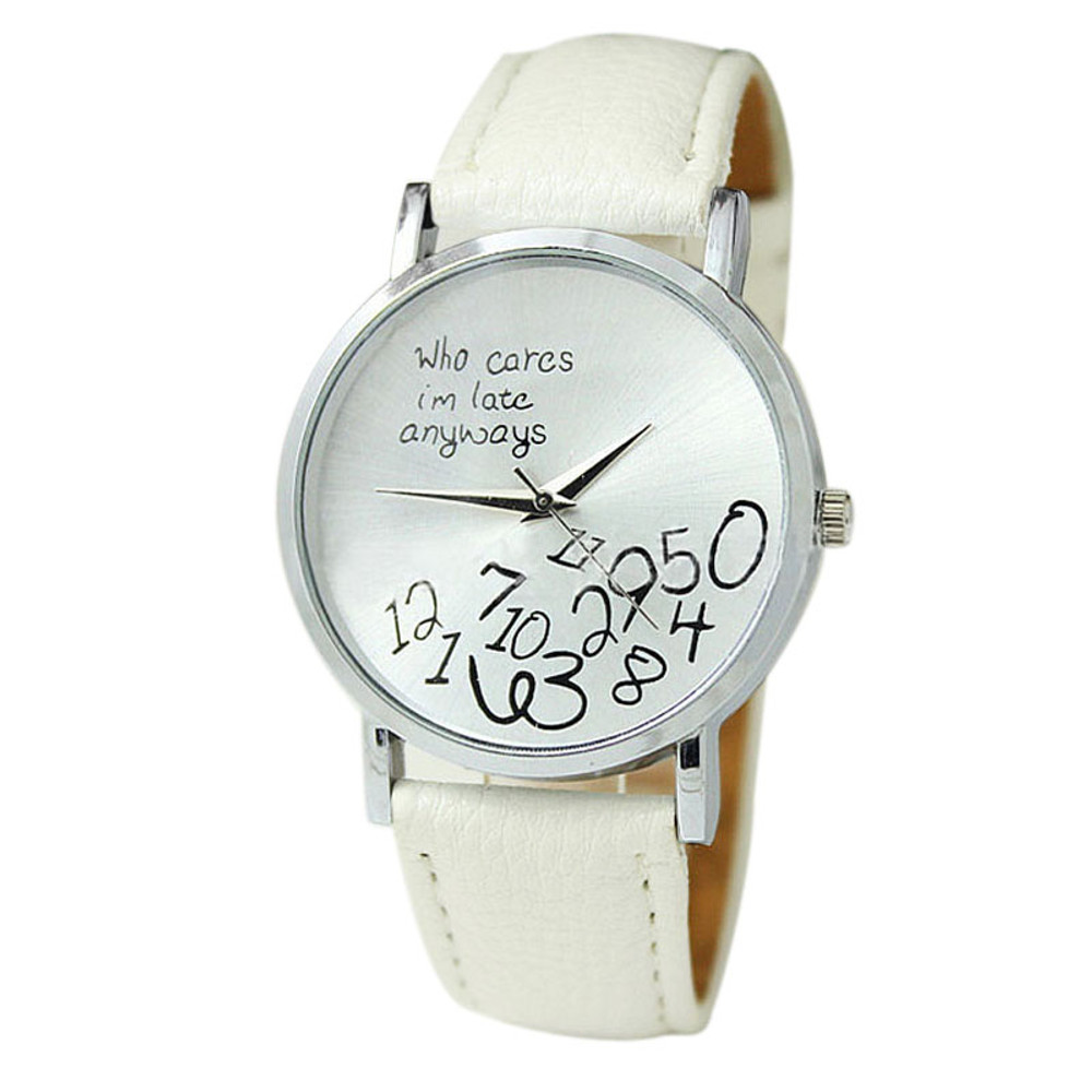 Women Leather Watch Who Cares I am Late Anyway Watch