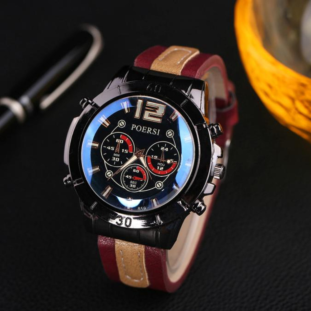 Luxury Men's Watches Analog Quartz Leather Sport Wrist Dress Watch Red