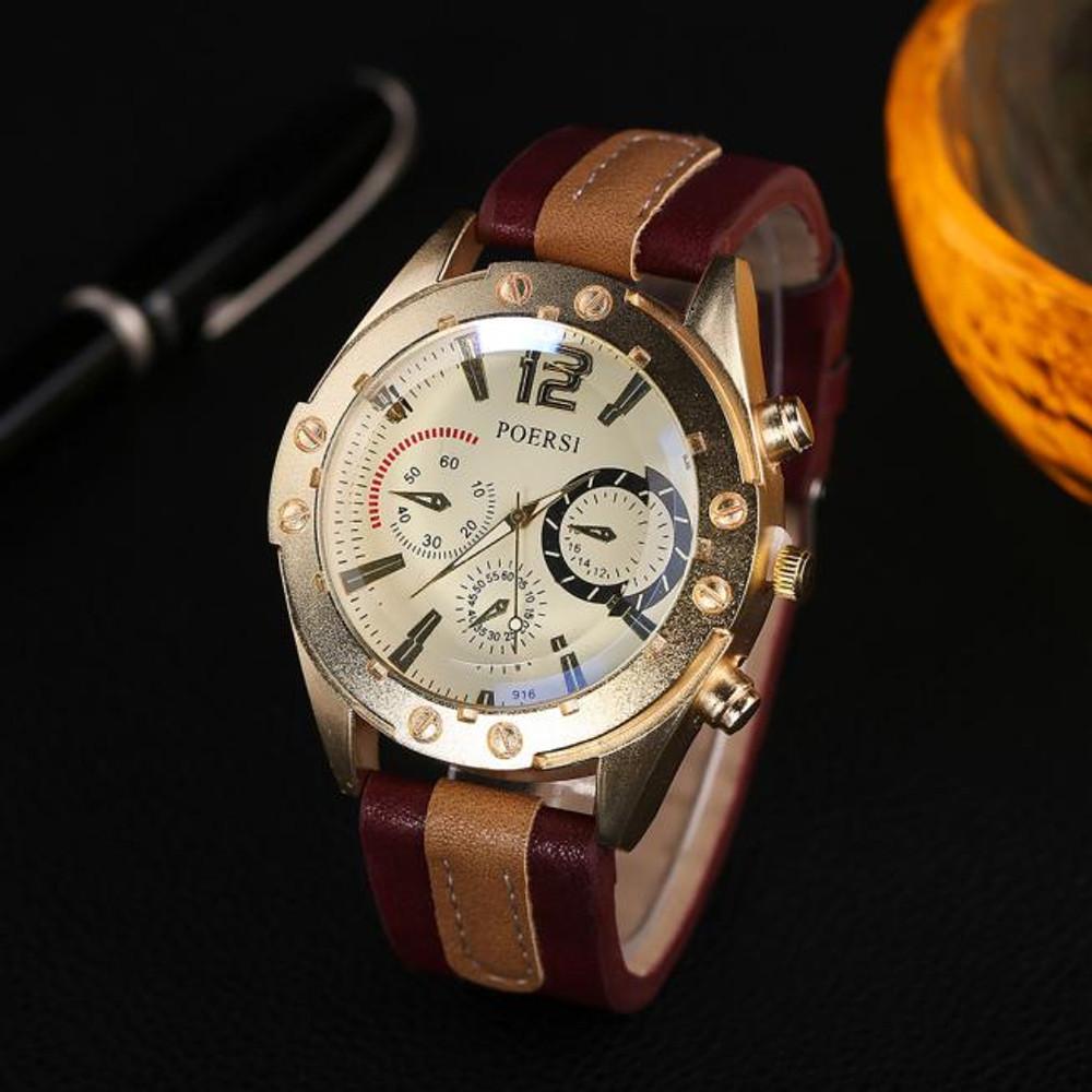 Luxury Men's Analog Quartz Leather Sport Wrist Dress Watch Red