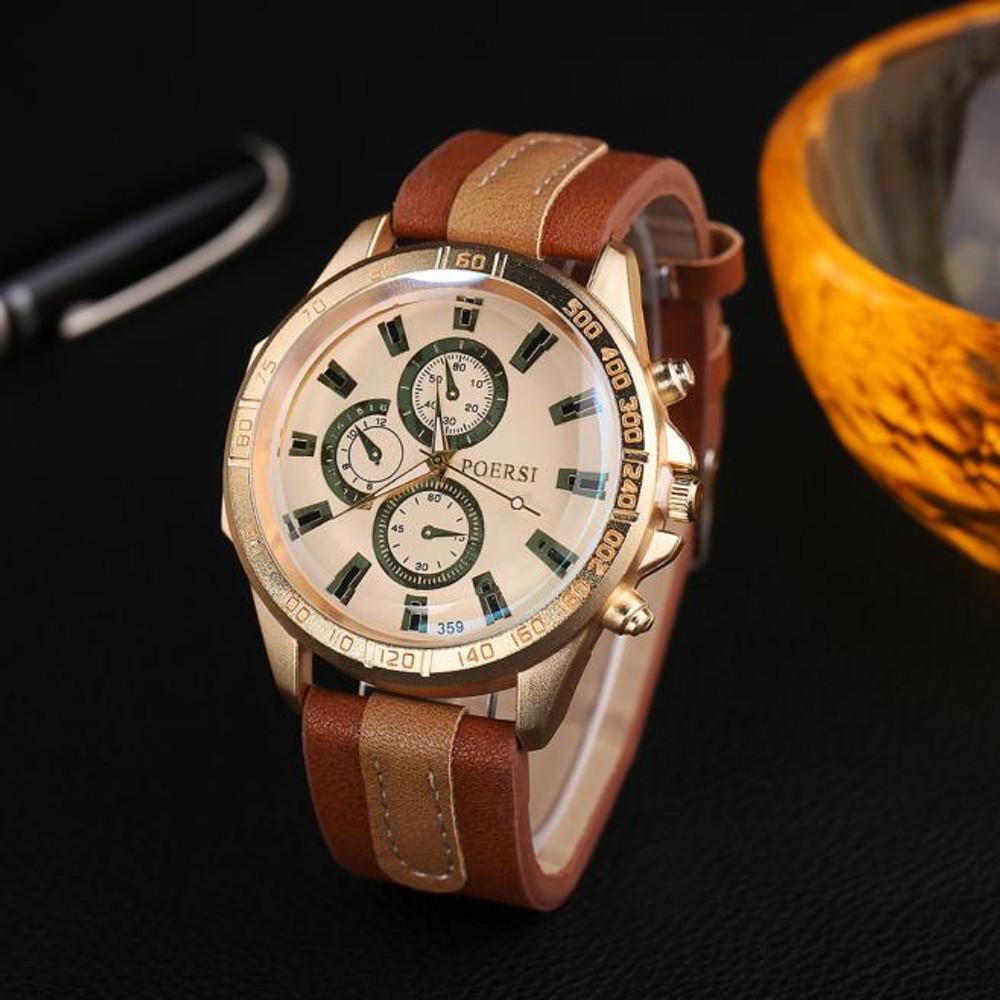 Luxury Men's Watches Analog Leather Sport Wrist Dress Watch Coffee