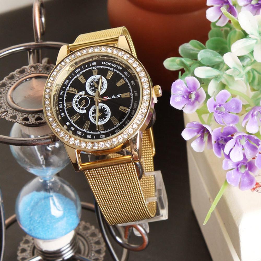 Fashion Women Gold Stainless Steel Watchband Analog Quartz Wrist Watch