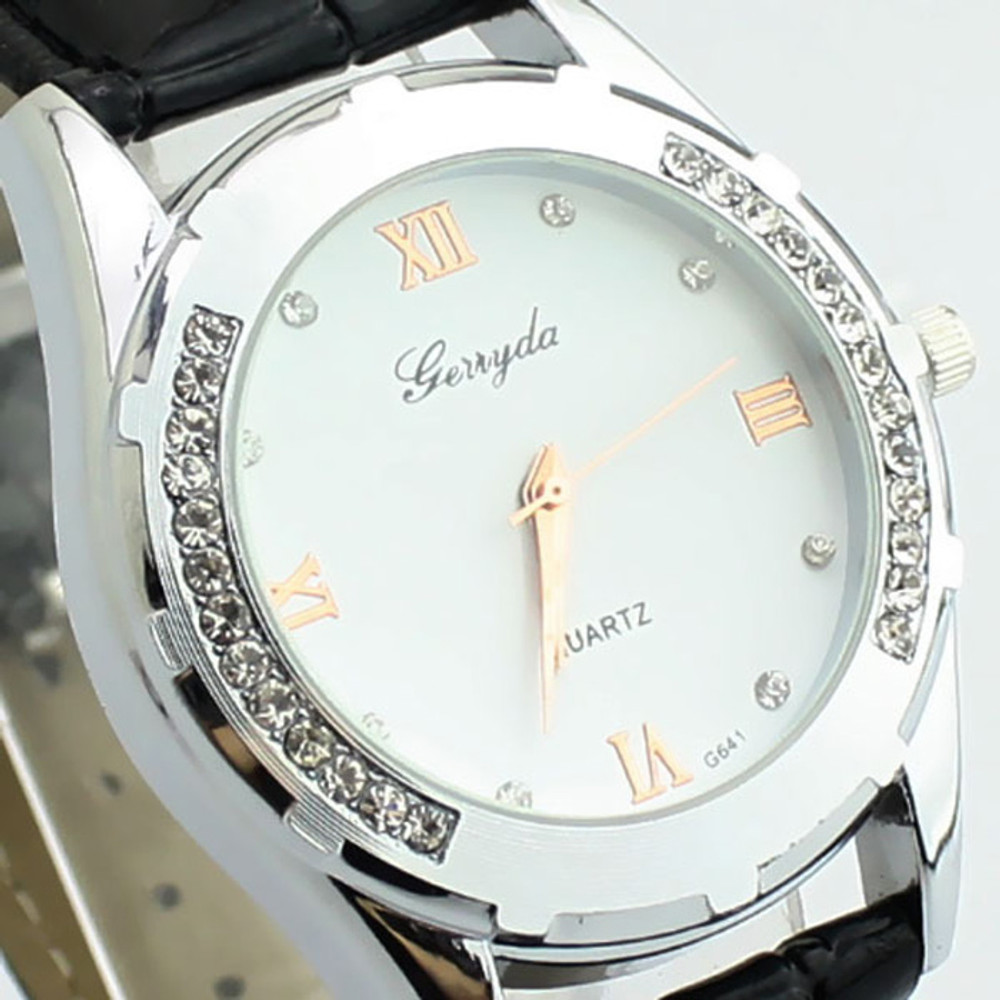 Elegant Women's Watch Rhinestone Quartz OL Ladies Wrist Watch Black