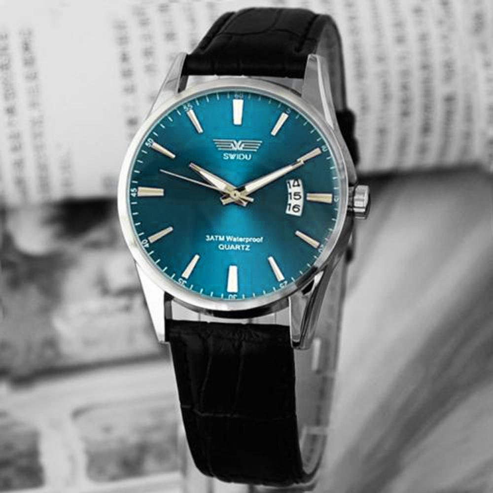 Classic Fashion Luxury Mens Black Leather Strap Wrist Watch