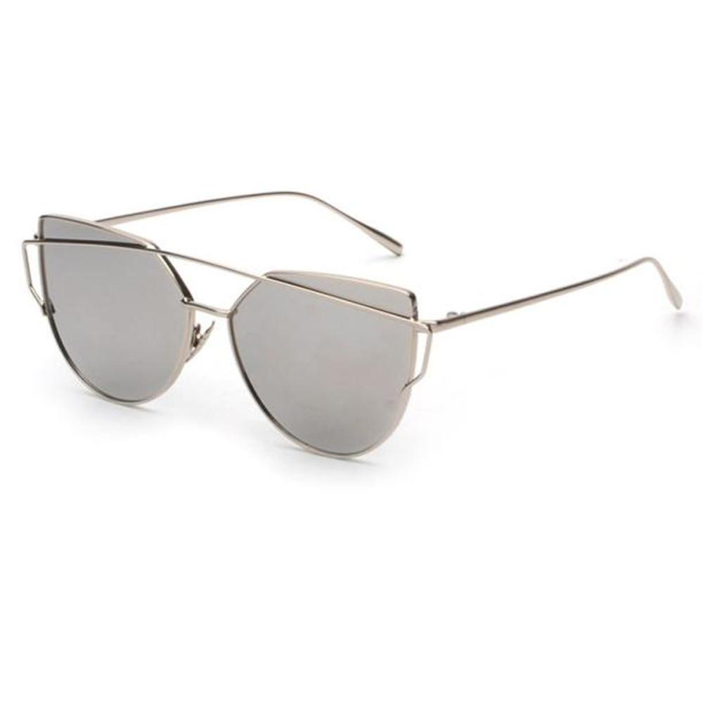 ac92f3f333 Fashion Twin-Beams Classic Women Metal Frame Mirror Cat Eye Sunglasses ...