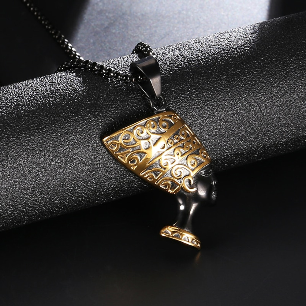 African Queen Nefertiti Pendant Black Titanium Stainless Steel Pendant Necklace