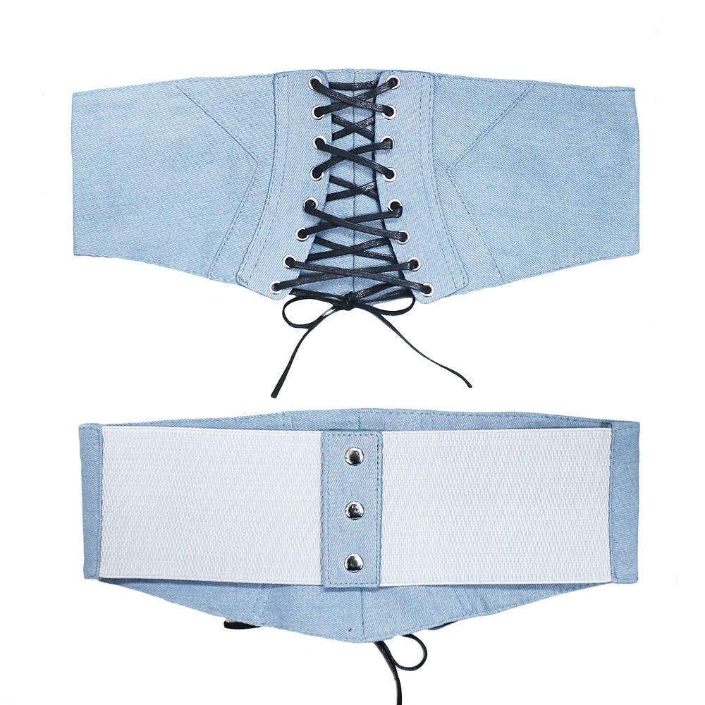 Ladies Denim Lace Up Corset Over Shirt Belt Blue