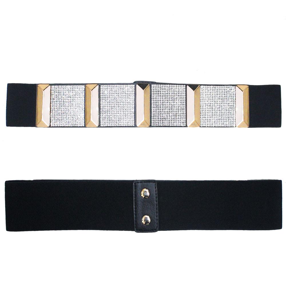 Ladies Crystal Block Elastic Corset Over Shirt Belt Black