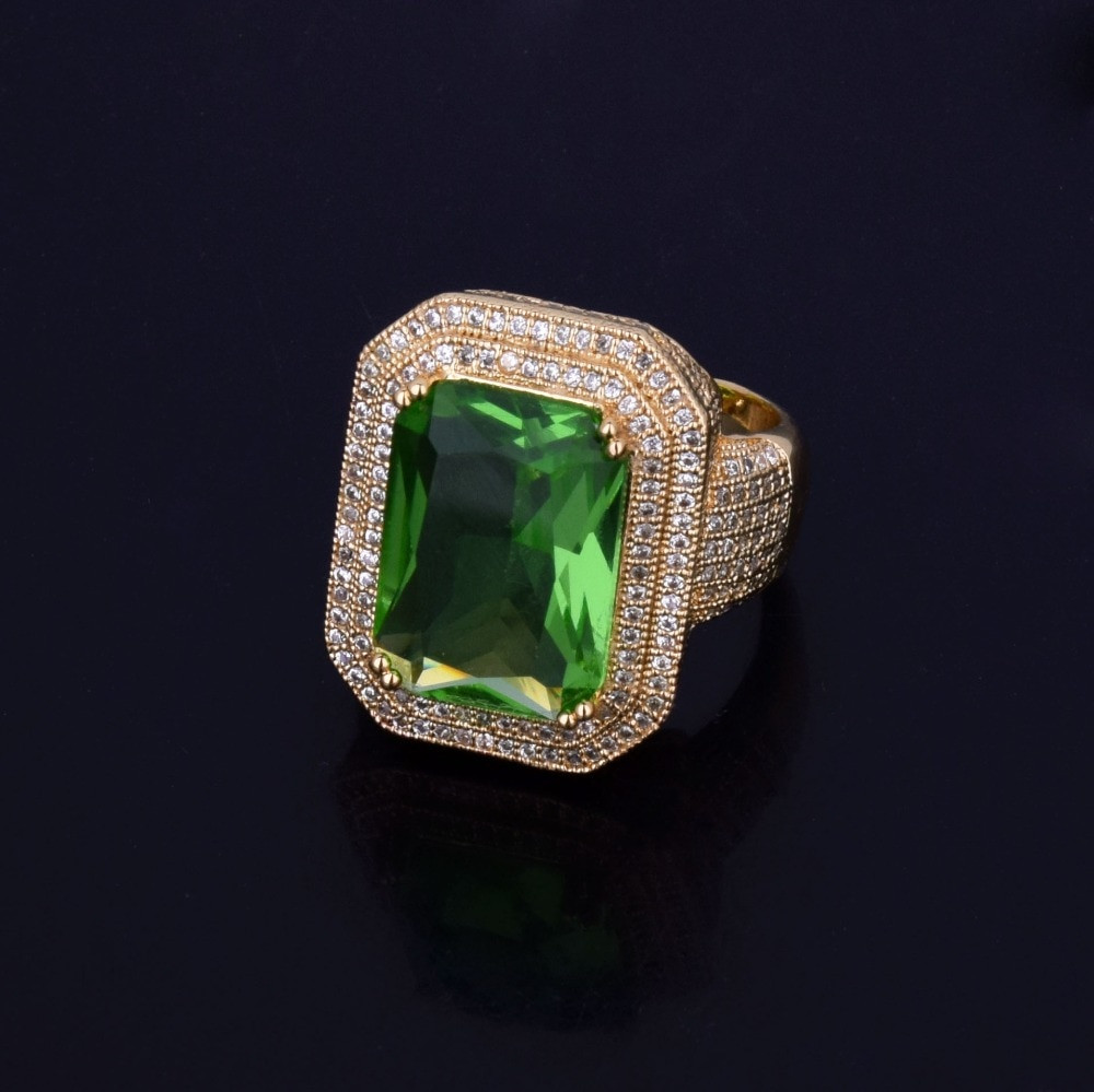 Green Emerald Onyx Simulated Diamond Stone Pinky Ring