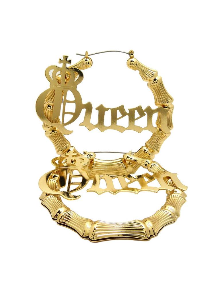 14k Gold Queen Pinhatch Bamboo Style Door Knocker Earrings