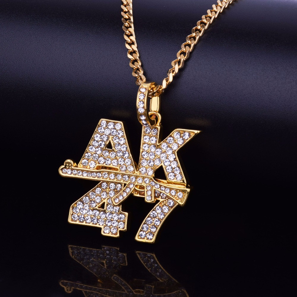 14k Gold Silver Iced Out Cuban Link Ak 47 Pendant Chain Set