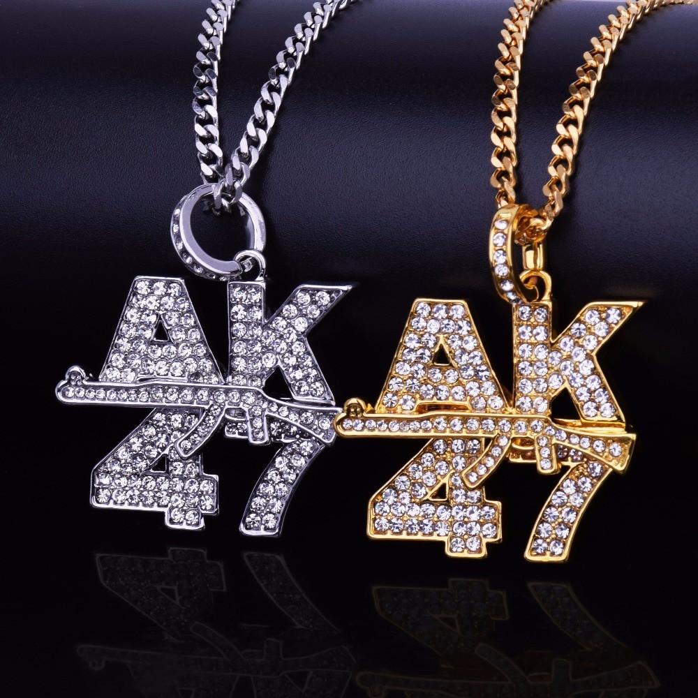 14k Gold Iced Out Cuban Link Ak 47 Pendant Chain Set
