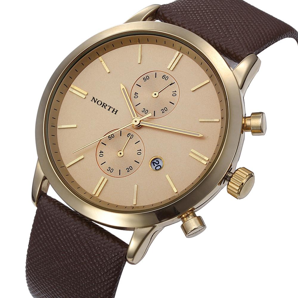 Brown Gold Accented Sleek Street Men's Casual Wrist Watch