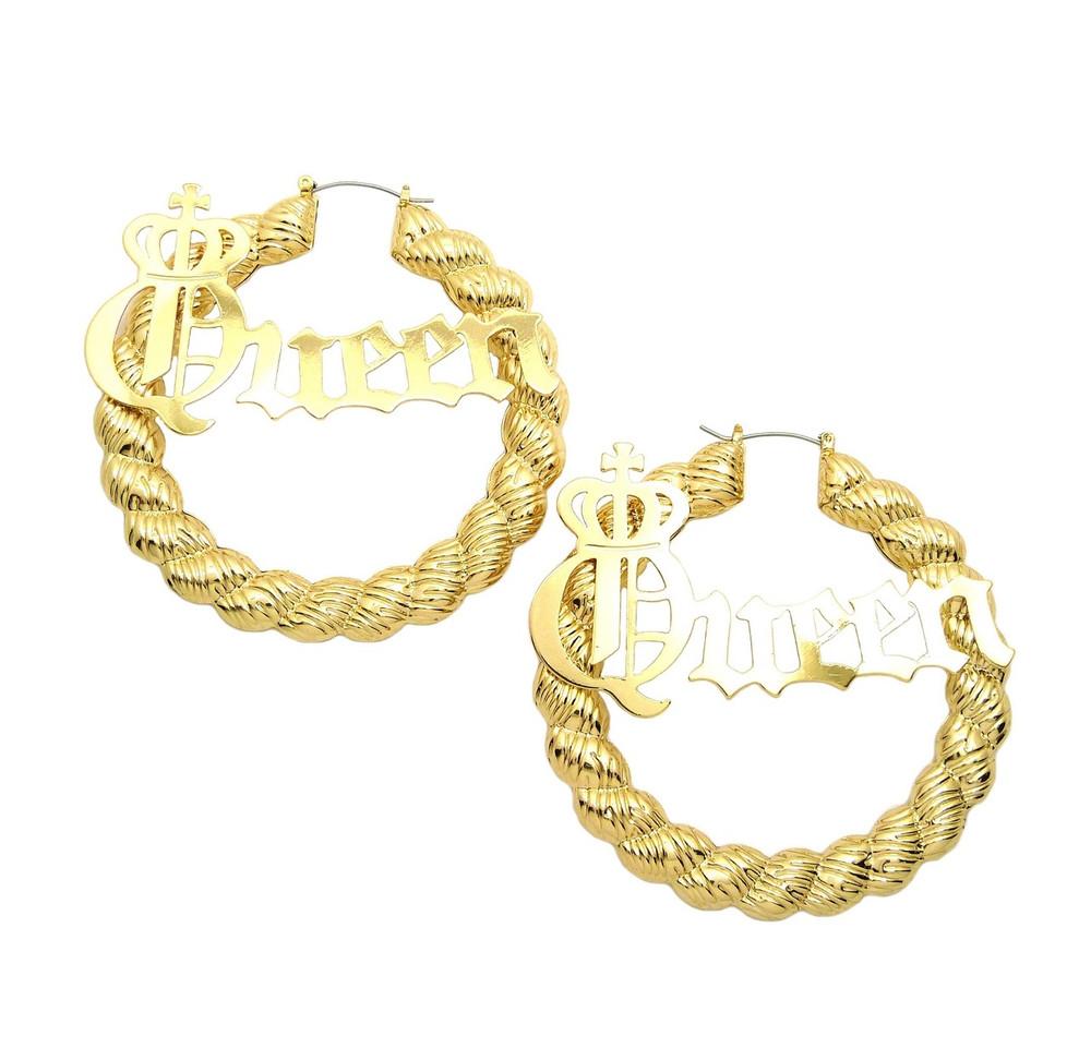 14k Gold Queen Big Hoop Pin hatch Rope Style Door Knocker Earrings