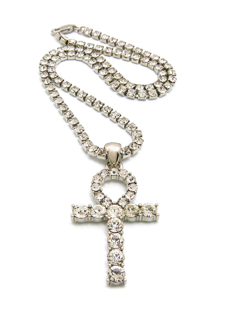 African Egyptian Iced Out Silver Ankh Cross Prong Set Diamond Cz Necklace