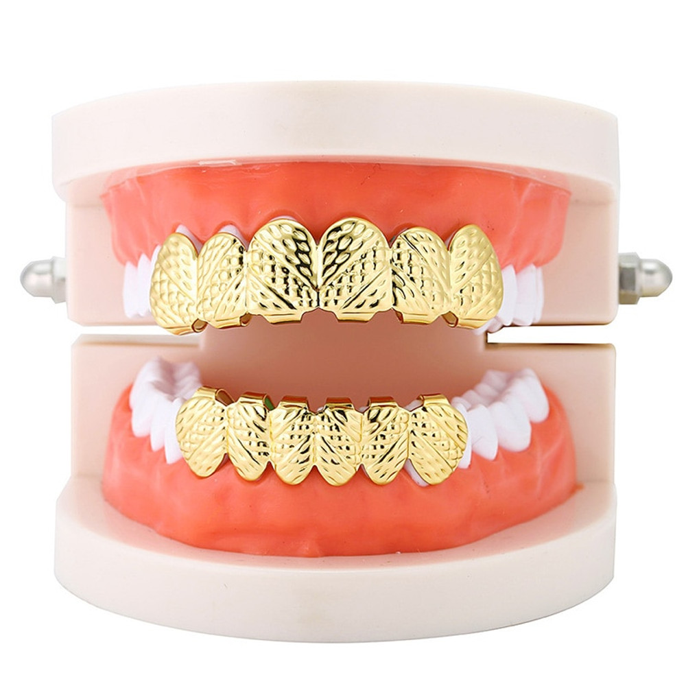 Gold Rush Nugget 14k Custom Top and Bottom 6 Teeth Hip Hop Grillz Combo